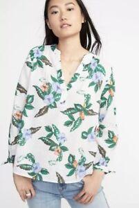 2add93a105909 OLD Navy WOMEN S Relaxed TIE Cuff LINEN Blend TOP Shirt V-NECK XL ...