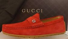 Gucci Mens Queen Rosso Red Suede Loafer Shoes Size 11