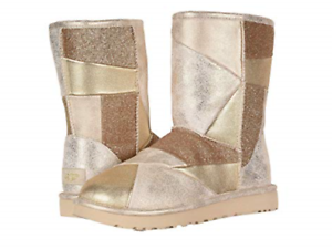 UGG Classic Glitter Patchwork Gold Boot