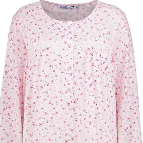 7102 Premium Nightdress Slenderella 60/% Cotton Jersey Long Sleeve Nightie