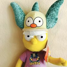 "NWT BART SIMPSON KRUSTY THE CLOWN HAT COSTUME PLUSH DOLL 19"" The Simpsons TV"