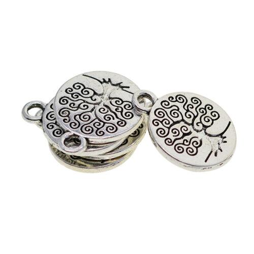 30Pcs Tibetan Silver Lotus Tree Om Yoga Necklace Pendants Charms DIY Crafts