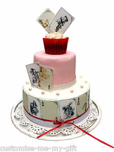 Image Is Loading 20 Gold Alice In Wonderland Edible Playing Cards