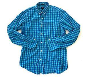 J-Crew-Slim-Fit-Button-Front-Casual-Suit-Shirt-Blue-Plaid-Mens-Size-Medium-M