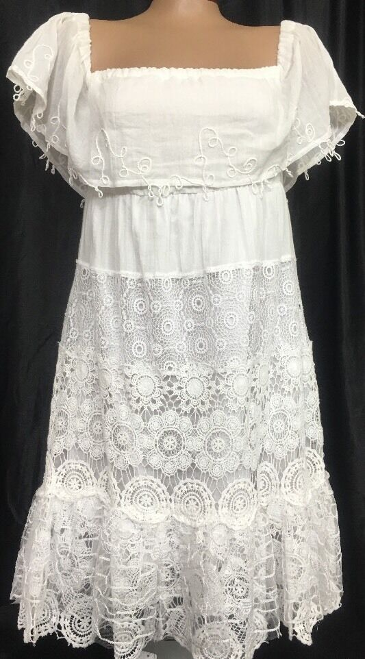 Anjuna Dress White Embroidered Layered NWT SIze  XS Size 32 Bust
