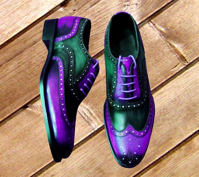 Due porpora porpora  nera brunita Brogue Toe Wing Tip Oxford Leather Laceup scarpe  essere molto richiesto