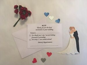 Image Is Loading Wedding Reception Rsvp Cards And Envelopes