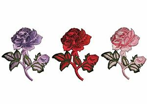 Unotrim Red Pink Lilac Rose Embroidered Patch Floral Embroidery Iron On Applique