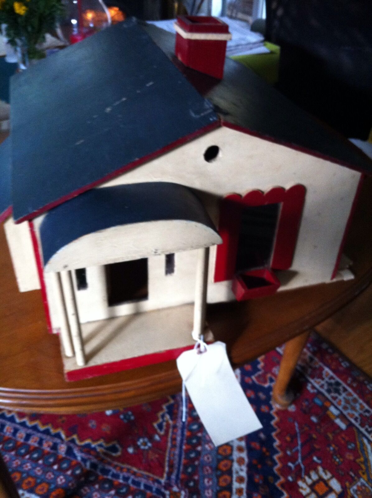 Vintage Handmade Dollhouse One story hinged roof opens on either side