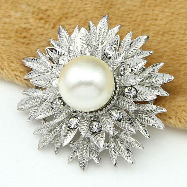 Rhinestone Crystal Wedding Bridal Bouquet Silver Flower Faux Pearl Brooch Pin