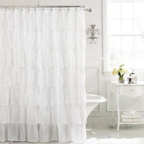 Chic ruffle semi sheer shower curtain white new free shipping