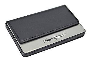 Visitenkartenetui-Visitenkartenbox-mit-Gravur-schwarz-Lederoptik-Metall-graviert