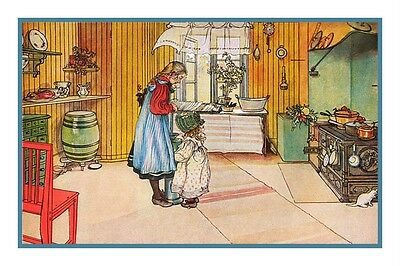 Swedish Carl Larsson's In The Kitchen Counted Cross Stitch Chart Pattern