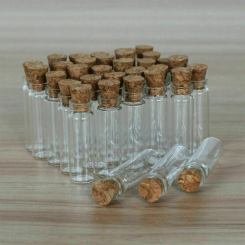 50-200Pcs 2ML Clear Small Glass Bottles with Corks Containers Jars Bottles Vials