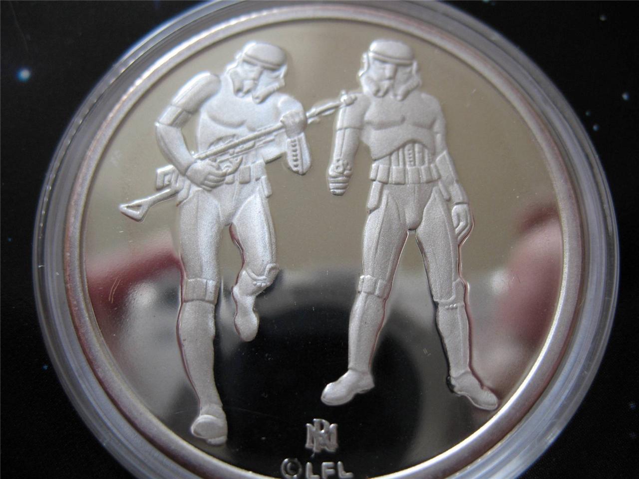 1-OZ.999 moneda de plata de Star Wars Luke Skywalker, imperial soldados de asalto + oro