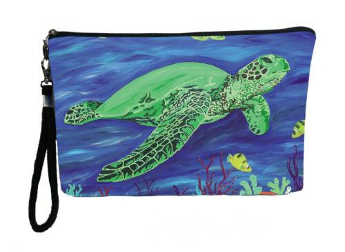 Wisdom Details about  /Sea Turtle Pouch Wristlet with detachable strap-From my orginal Painting