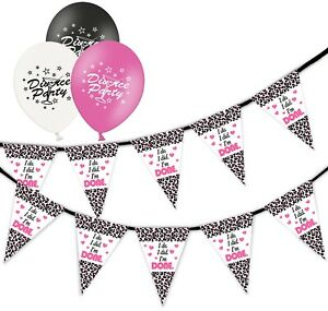 Divorce-I-039-m-Done-Bunting-15-flags-amp-Pack-of-20-Printed-Cocktail-Asst-Balloons