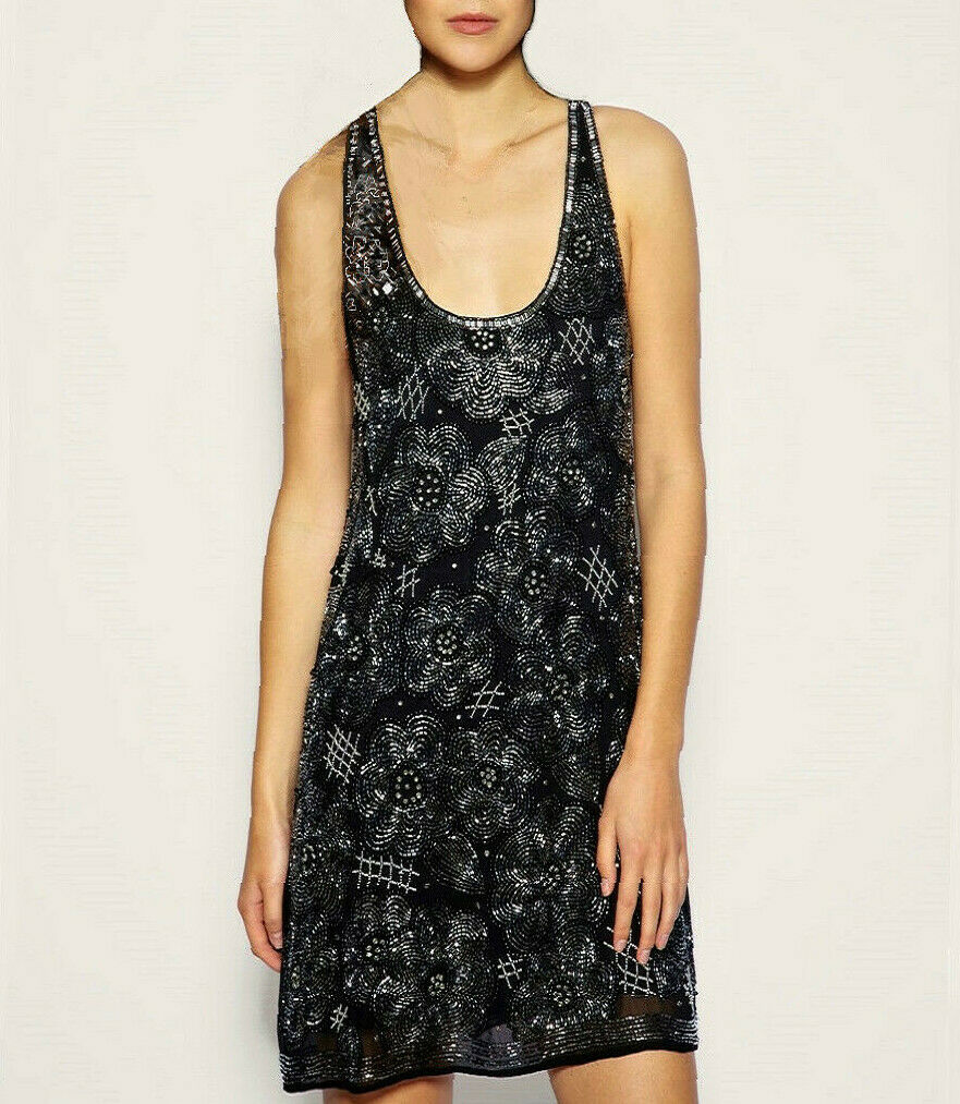 NWT PREMIUM Heavily Embellished Trapeze DRESS Lined  schwarz by asos