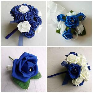 Image Is Loading Royal Blue Artificial Wedding Flowers Brides Bouquet Bridesmaid