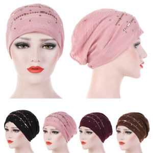Muslim-Women-Mesh-Beaded-Head-Wrap-Turban-Arab-Islamic-Hijab-Headscarf-Chemo-Cap