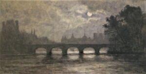 3098* paul roux (c.1845-1918) aquarelle pont notre dame de paris 19eme siecle