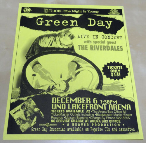 GREEN DAY Riverdales Original 1995 Concert Poster