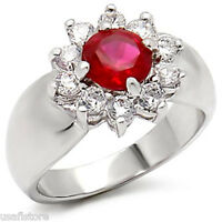 2.3ct Ruby Red Stone Flower Silver Rhodium Ep Ladies Ring