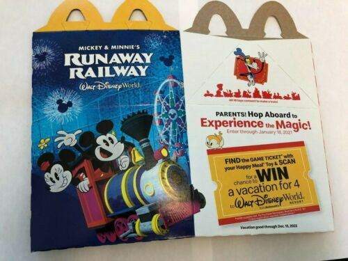 2020 McDonalds MICKEY /& MINNIE/'S RUNAWAY RAILWAY collectible Happy Meal Box RARE