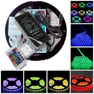 12V-5M-5050-SMD-RGB-Flexible-LED-Strip-Lights-24-44key-Remote-5A-Adapter-Power