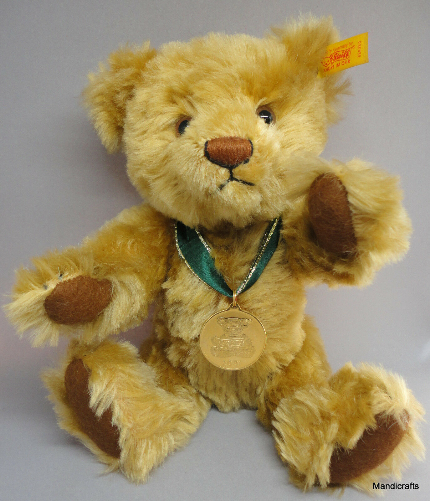Steiff Teddy Bear 2001 Mohair oro Medallion Danbury Mint ID Button Tag 12in Box