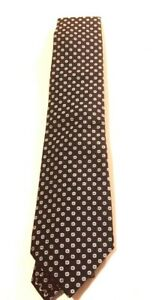 Turnbull-amp-Asser-Geometric-Floral-Silk-Neck-Tie-Size-9-5-Navy-Exclusive-195-NEW