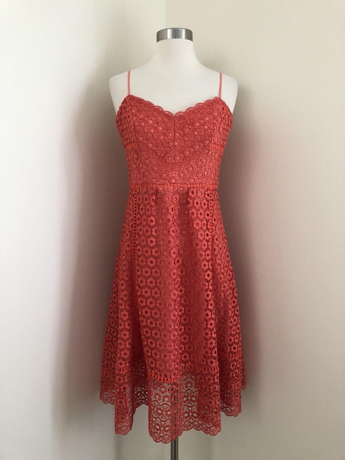 Nouveau J. CREW 178   daisylace robe Orange Größe 4 Smoky corail G7489 dentelle