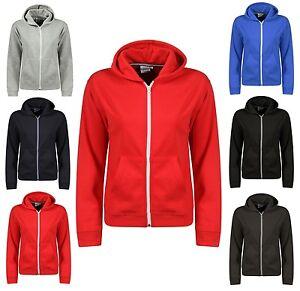Boys-Hoodie-American-Sweatshirt-Plain-Hooded-Fleece-Zip-Up-Jacket-Top-7-13-Years