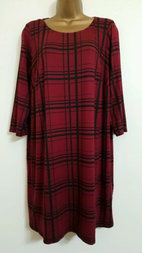 NEW Plus Size 16-32 Tartan Print Raspberry Red /& Black Tunic Top Blouse Checked