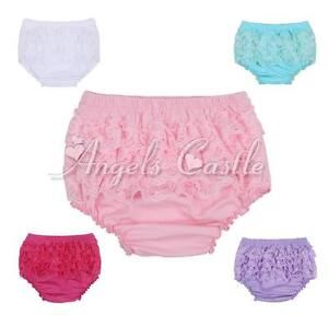 Baby Infant Girls Lace Ruffles Bloomers Panties Briefs Diaper Nappy Cover 3-24M