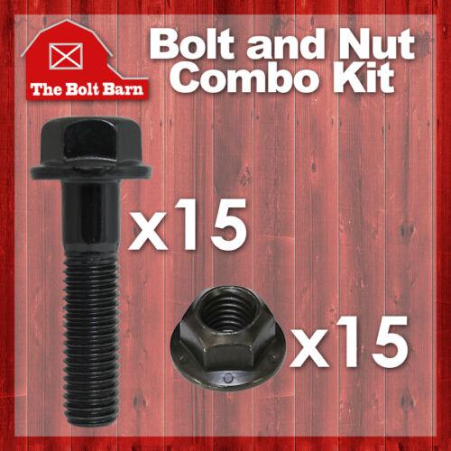 3//8-16 Gr.G Flange Lock Nuts 15 3//8-16x1-3//4 Grade 8 Hex Flange Bolts /& 15