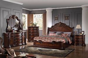 Traditional Antique Est King Size Bedroom 6pc Set Walnut Faux Marble Top Finish