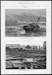 1881-Antique-Print-TYNESIDE-YORKSHIRE-Gales-Ship-Wreck-Ruined-Iron-Church-267