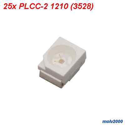 25x LED SMD PLCC-2 PLCC2 1210 (3528) ROJO 1500MCD - Superbright RED LED