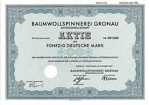Baumwollspinnerei-Gronau-Textil-DM-Aktie-1987-Epe-Westfalen-BSG-NRW-Muensterland