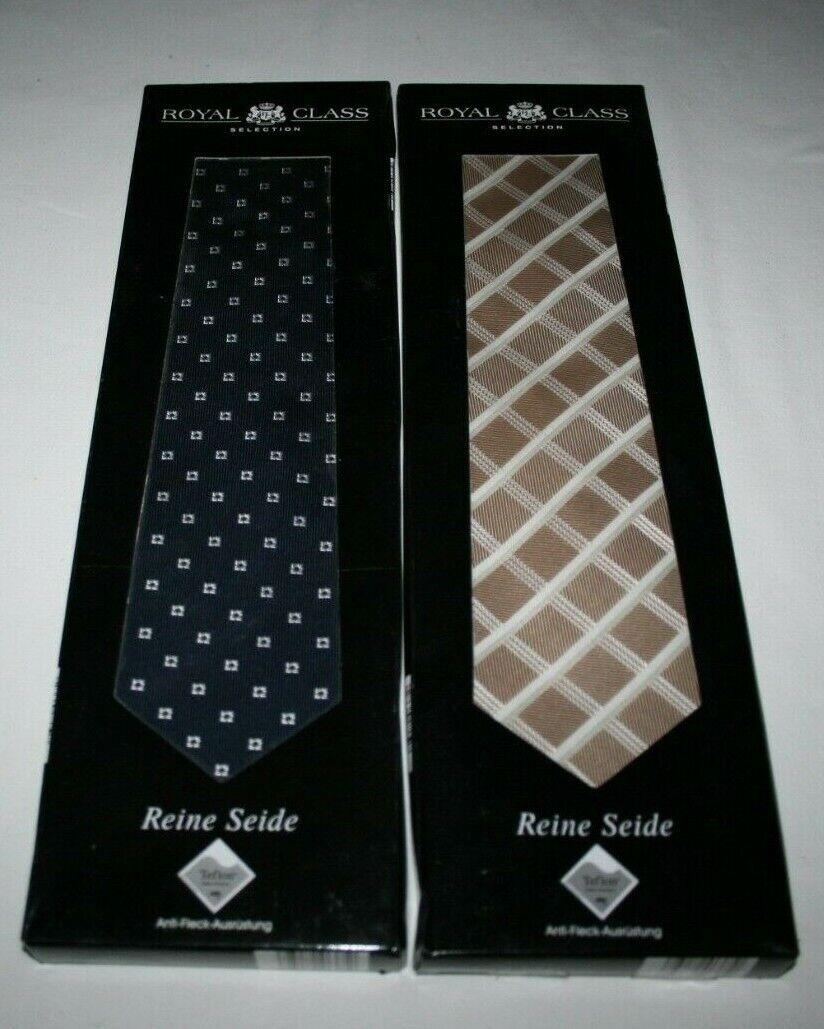 2 x Royal Class Selection Krawatte/ Krawatten - Reine Seide handgenäht - OVP