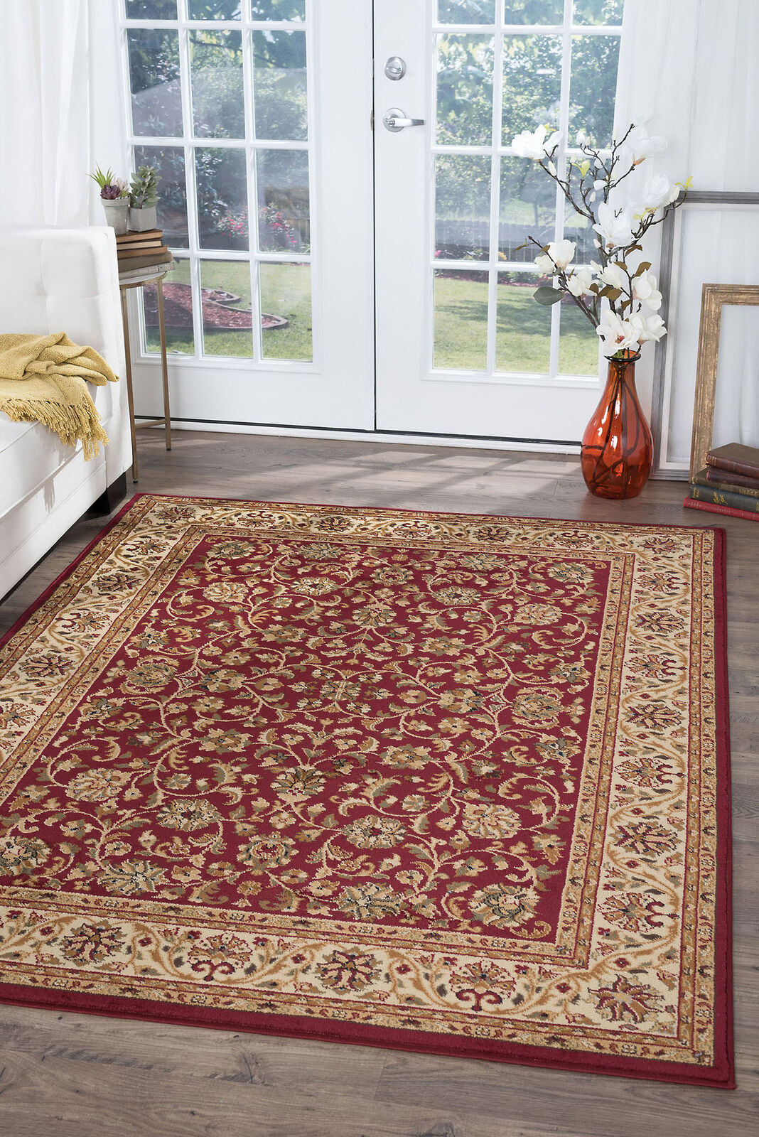 Navy Traditional 8 Round Persien Area Rug Bordered Carpet