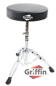 Drum-Throne-Griffin-Padded-Seat-Drummers-Stool-Stand-Chair-Percussion-Hardware