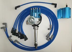 small block chevy blue small hei distributor coil spark plug wires image is loading small block chevy blue small hei distributor coil