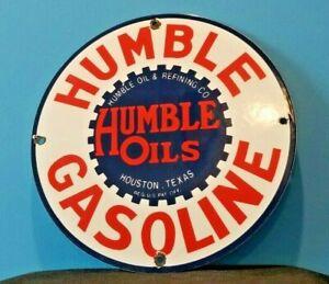 VINTAGE-HUMBLE-GASOLINE-PORCELAIN-GAS-OIL-TEXAS-SERVICE-STATION-PUMP-SIGN