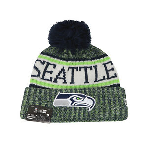 1b64d23a Details about NEW ERA NFL Seattle Seahawks Knit OF18 Navy Green Adult Pom  Beanie Hat Men Knit