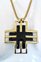 Jules Smith 14k Yellow Gold Plated W/ Black Twitter Pendant Necklace $125