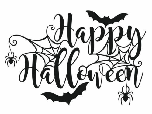 HAPPY HALLOWEEN IRON ON TRANSFER FOR T SHIRTS BAGS PILLOWS COSTUME MAKE YOUR OWN