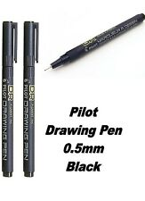 2 x Pilot DR 0.5mm Fineliner - BLACK INK Waterproof Drawing Fineline Pen