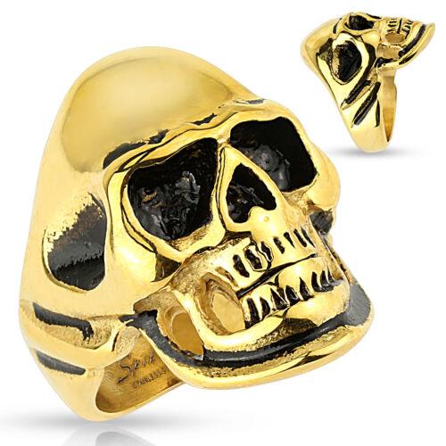 316l anillo de acero inoxidable calavera Skull estrella pentagrama oro negro Biker caballeros